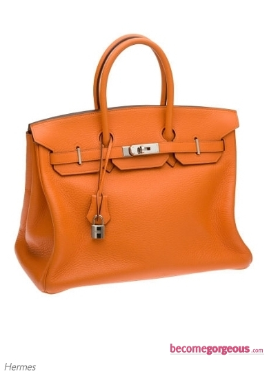 Hermes Birkin Orange Clemence Leather Bag