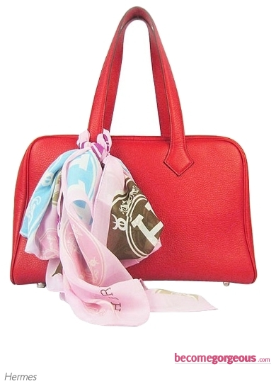 Hermes Victoria Red Tote Bag