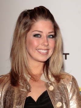 Holly Montag's wearing a messy loose updo that's perfectly done - her hair is pulled back and twisted into a messy knot with free-falling pieces and side-swept bangs.