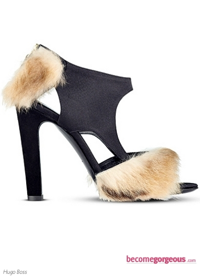 Hugo Boss Black Sandal With Fur