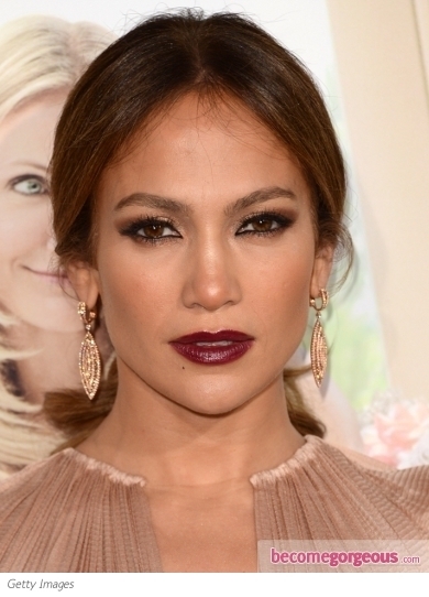 Jennifer Lopez with Burgundy Red Lips