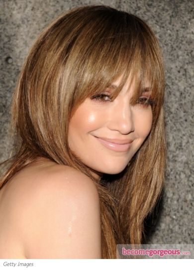 jennifer lopez hairstyles with bangs. layers. Jennifer