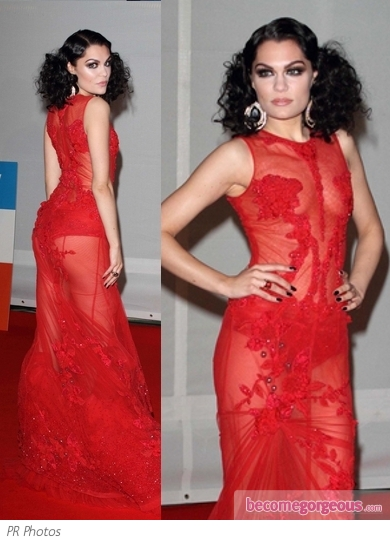 Jessie J in Falguni and Shane Peacock Red Gown