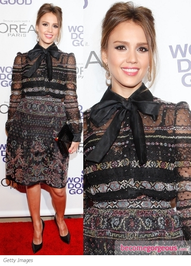 Jessica Alba in Valentino Embroidered Dress