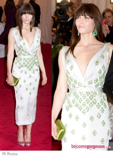 Jessica Biel in Prada Embellished Dress