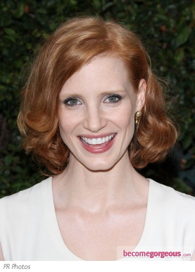 Jessica Chastain Wavy Bob Hairstyle