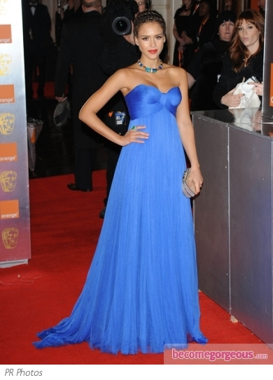 Jessica Alba in Blue Versace Gown