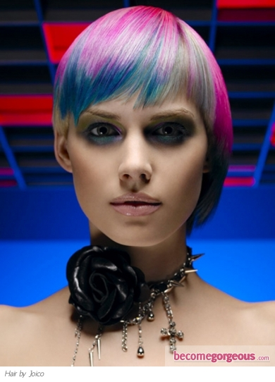 Edgy Rainbow Hair Color Idea