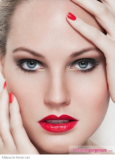 Red Lips Classy Makeup Idea
