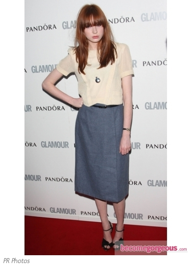 Karen Gillan in Midi Skirt and Beige Top