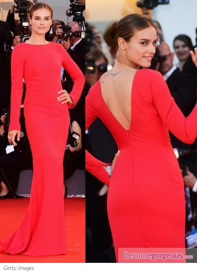 Kasia Smutniak in Armani Prive Red Gown