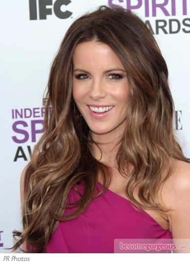 Kate Beckinsale's Thick Wavy Hairstyle