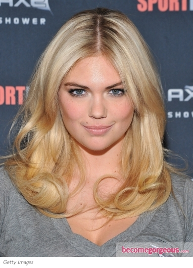 Kate Upton's Center Part Hairstyle