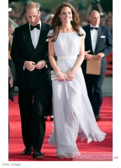 Duchess Kate in Alexander McQueen Belted Lilac Gown