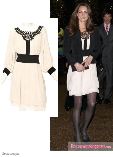The Duchess of Cambridge brightens up a rainy day in a  jeweled dove grey peplum dress by Matthew Williamson. She accessorized with Valerie shoes and black clutch by Emmy.