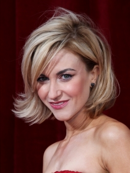Coronation Street star Katherine Kelly arrived to the 2010 British Soap Awards wearing her chin-length bob blown-dry for great volume and swing. The secret to her natural volume is to blow-dry hair in smaller sections, working from the bottom up. Direct air flow down the hair shaft, then add bend at the ends.