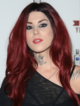 Kat von D Long Red Hairstyle