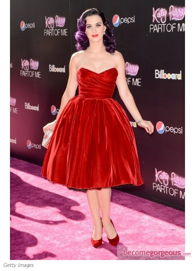 Katy Perry in Dolce & Gabbana Red Velvet Dress