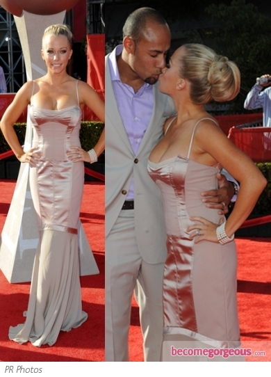 Kendra Wilkinson in Pale Pink Corset Gown
