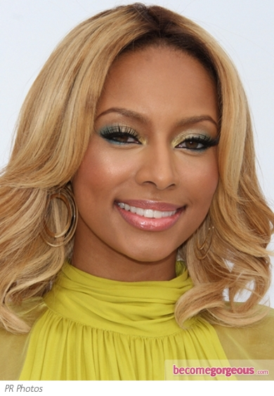 Keri Hilson Green and Gold Makeup