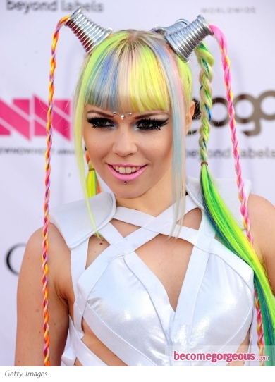 Kerli's Rainbow Colored Hair Highlights