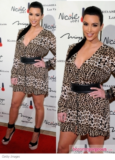 Kim Kardashian in ALC Daisy Animal Print Mini