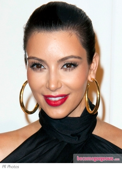 Kim Kardashian with Bold Red Lips