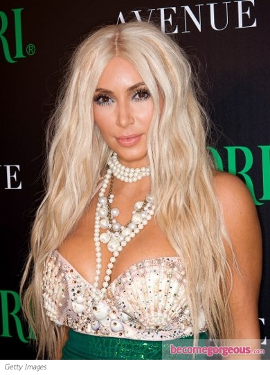 Kim Kardashian with Platinum Blonde Hair