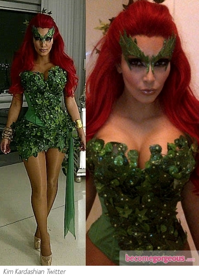 Kim Kardashian in Poison Ivy Halloween Costume
