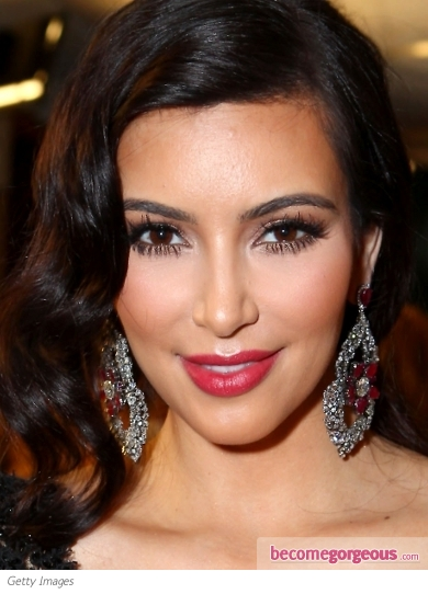 Kim Kardashian with Plum-Pink Lips