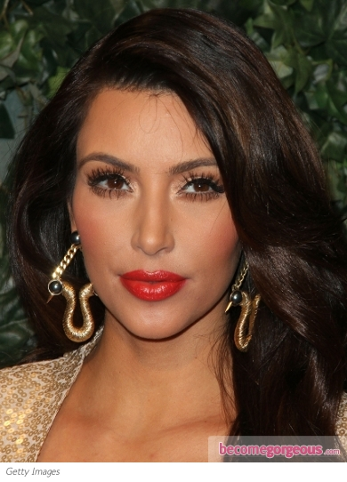 Kim Kardashian Fiery Red Lips Makeup