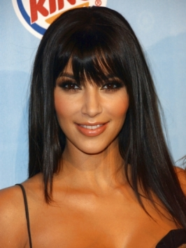 Kim Kardashian with Soft Bangs Hairstyle