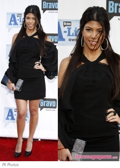 Kourtney Kardashian in Black Bell Sleeve Dress