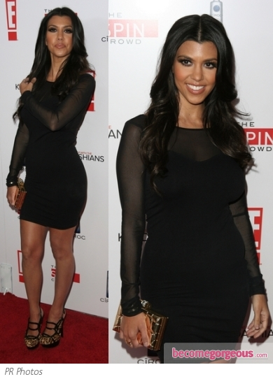 Kourtney Kardashian in Bebe Black Mesh Sleeve Dress
