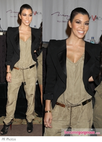 Kourtney Kardashian in Bebe Olive Jumpsuit