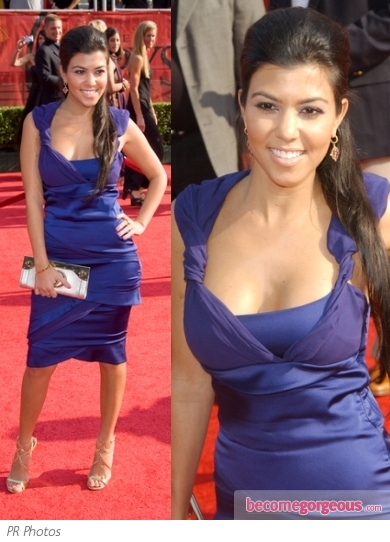 Kourtney Kardashian in Blue Dress