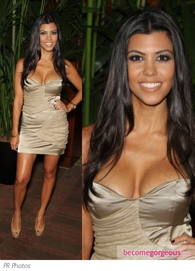Kourtney Kardashian in Sass & Bide Strapless Dress