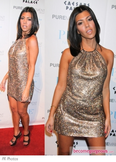 Kourtney Kardashian in Gold Mini Dress