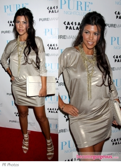 Kourtney Kardashian in Metallic Dress