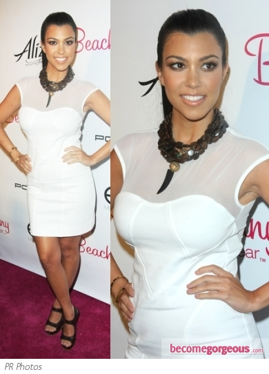 Kourntey Kardashian in Bebe White Mini Dress