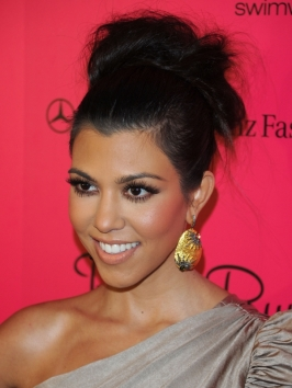 Kourtney Kardashian Messy High Updo