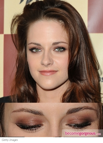 Kristen Stewart Copper Smokey Eyes Makeup
