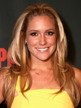 To get Kristin Cavallari's hairstyle, flat-iron hair to create a perfectly smooth surface, then take a skinny headband and push hair back.  Fling the lengths over your shoulders.