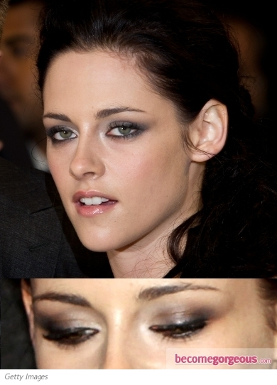 Kristen Stewart Grey Smoky Eyes Makeup