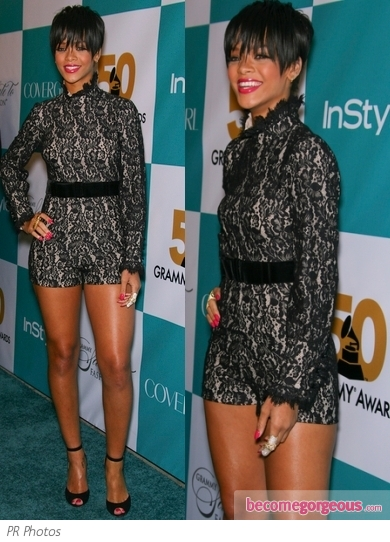 Rihanna in Betsey Johnson Lace Romper