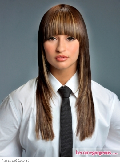 Brunette Hair Style with Blonde Highlights
