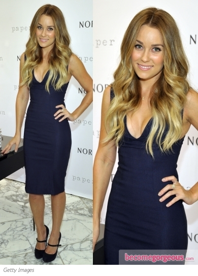 Lauren Conrad in Paper Crown Navy Dress
