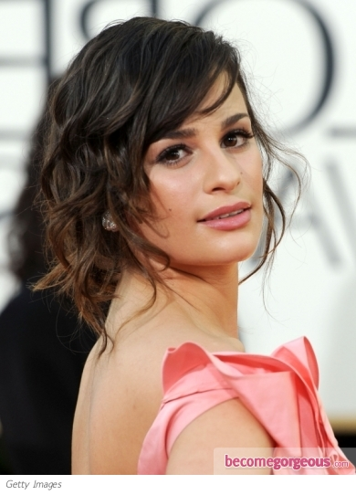 Lea Michele Hairstyle at Golden Globe 2011