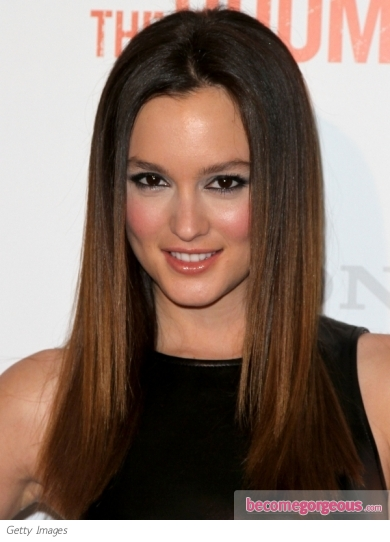 Leighton Meester Straight Glossy Hairstyle