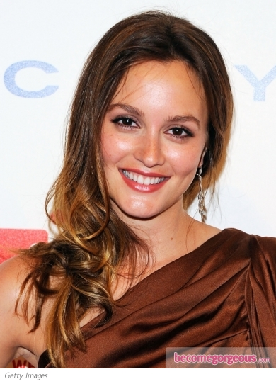 hair highlights for dark brown hair. Leighton Meester Golden Hair